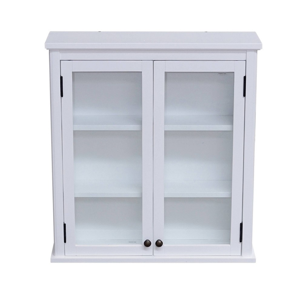 Image of Dorset Wall Mounted Bath Storage Cabinet with Glass Cabinet Doors White - Alaterre Furniture, Size: Glass Doors