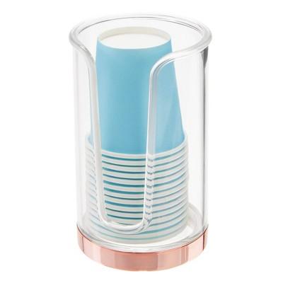 mDesign Plastic Disposable Cup Holder Dispenser for Bathroom