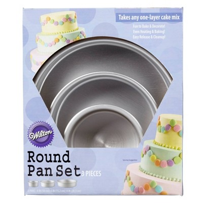 "Wilton 3pc Performance Pans Aluminum Round Cake Pans 8"", 6"" and 4"" Set"