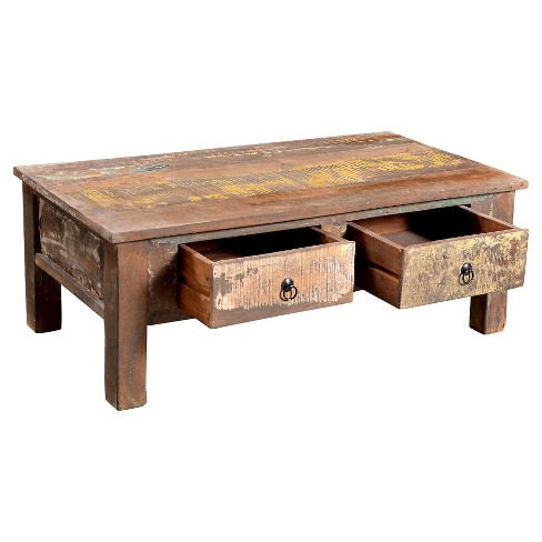 Reclaimed Wood Coffee Table And Double Drawers 16h X 43w 24d Natural Timber Target
