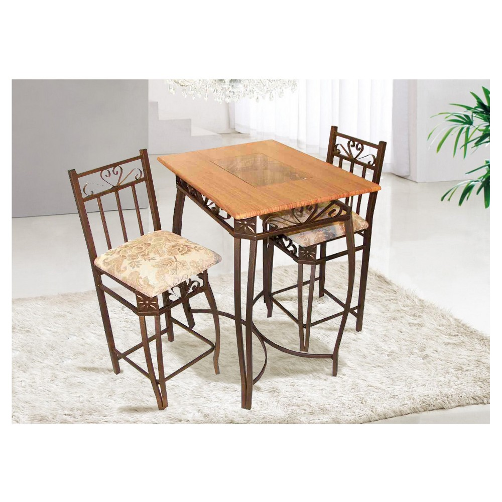 3pc Bistro Set Cherry - Home Source, Brown