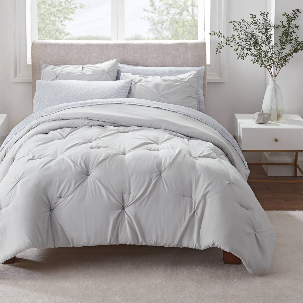 Twin Twin Xl 5pc Simply Clean Pleated Bed In A Bag Gray Serta