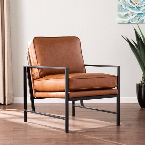 Winche Faux Leather Upholstered Accent Chair Black/Brown - Aiden Lane : Target
