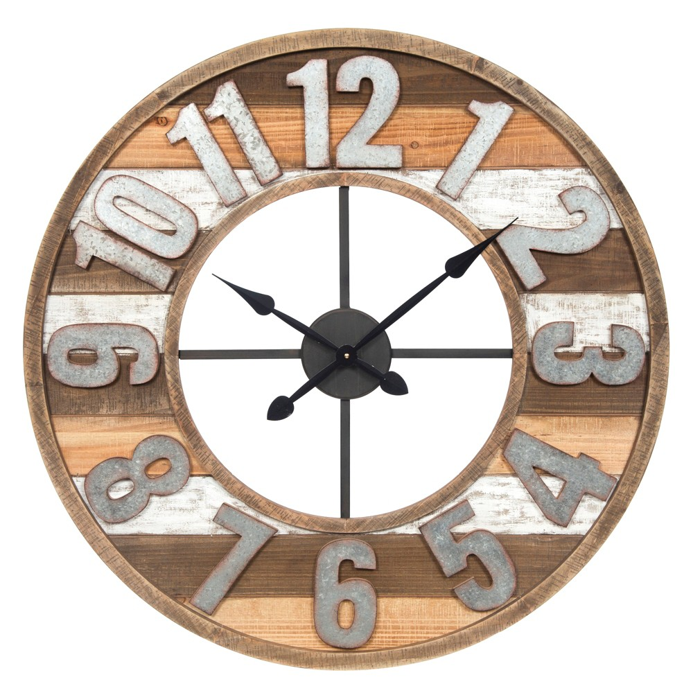 "Image of ""33"""" Rustic Reclaimed Wood and Metal Wall Clock Natural - Gallery Solutions, White"""