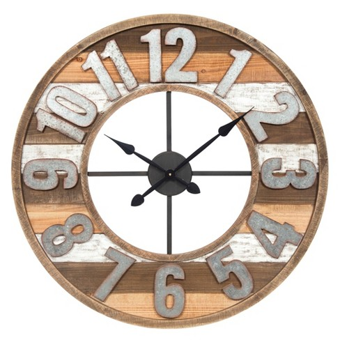 33 Rustic Reclaimed Wood And Metal Wall Clock Target