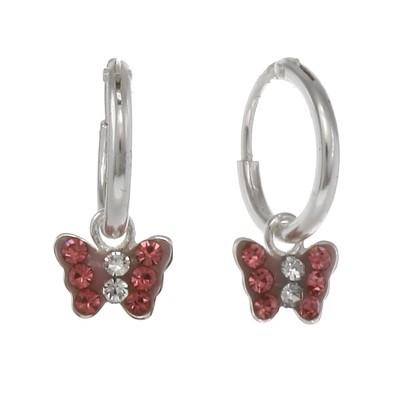 FAO Schwarz Sterling Silver Butterfly Hoop Earrings