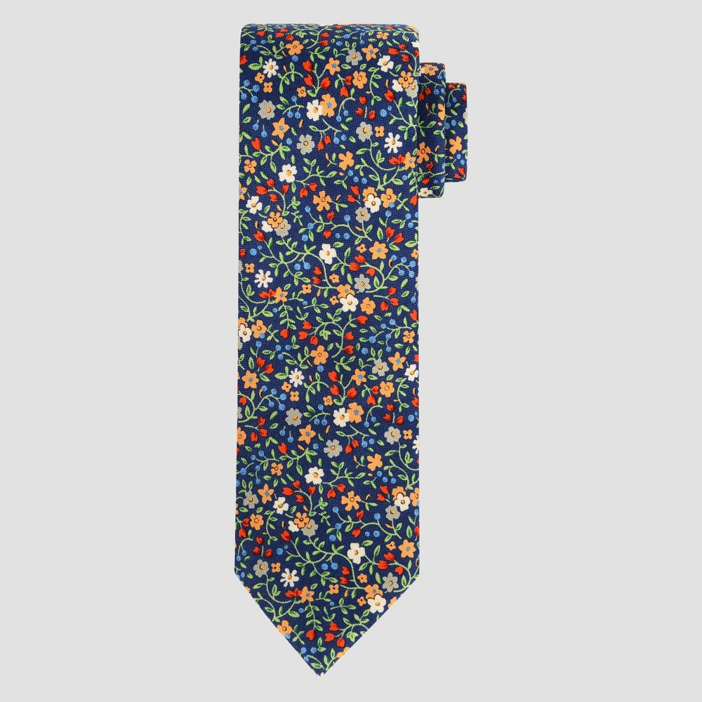 Image of Men's Floral Print Charles Necktie - Goodfellow & Co Navy One Size, Blue