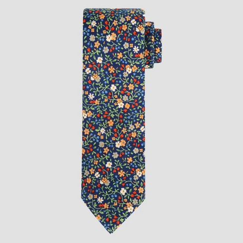 Men's Floral Print Charles Necktie - Goodfellow & Co™ Navy One Size - image 1 of 1