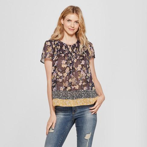caf78d6bda Women s Short Sleeve Smocked Mixed Print Peasant Top - Knox Rose™ Black