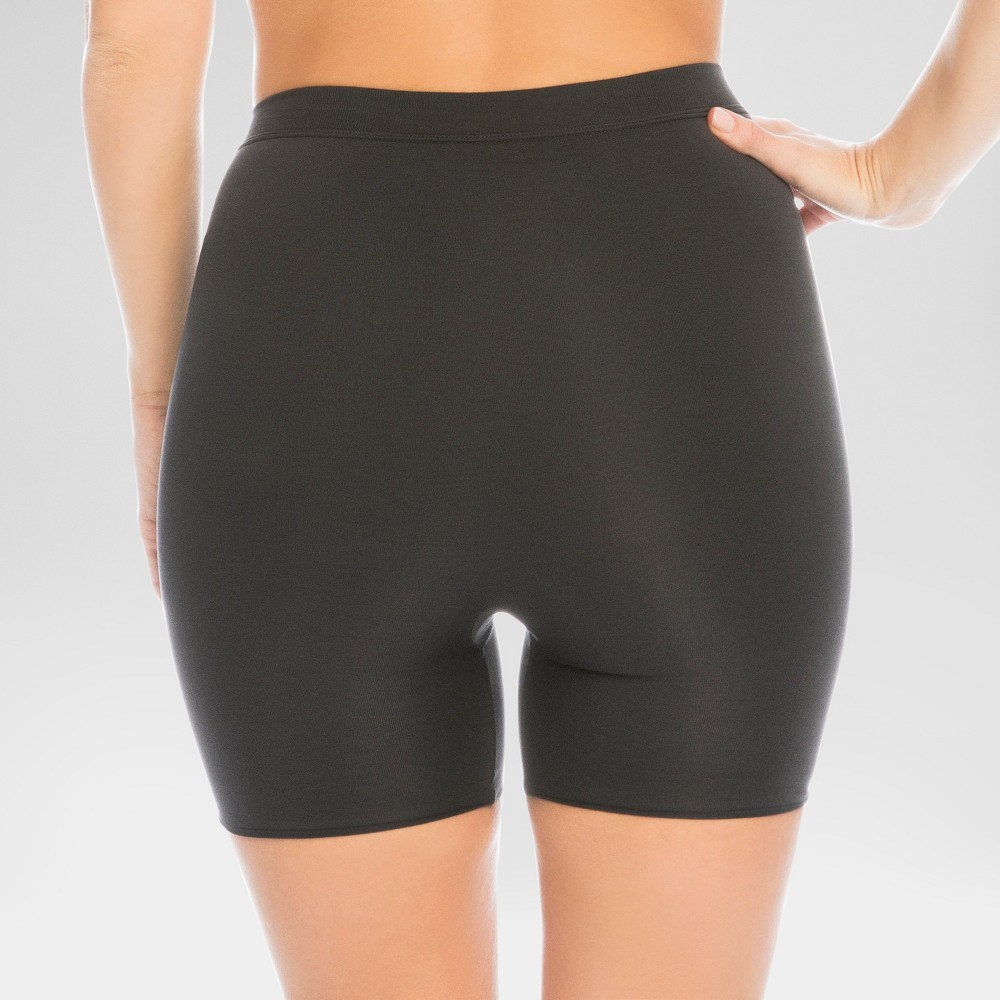 Assets by Spanx Women's Shaping Micro Reversible Midthigh slimmer - Black/Grey L, Black/Gray
