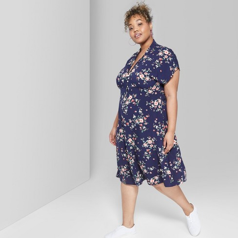 aeb8e042427 Women s Floral Print Plus Size Short Sleeve Button-Front Midi Dress - Wild  Fable™ Navy   Target