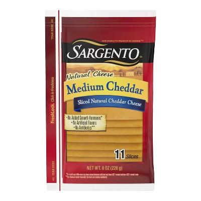 Sargento Natural Medium Cheddar Sliced Cheese - 8oz/11 slices