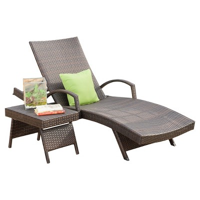 Salem 2 Piece Wicker Adjustable Chaise Lounge with Arms and Table - Brown - Christopher Knight Home