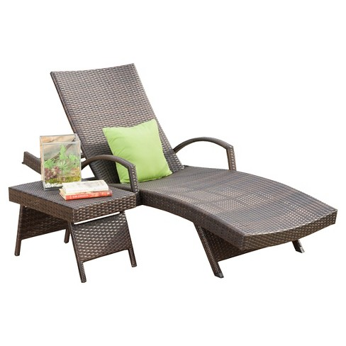 Salem 2 Piece Wicker Adjustable Chaise Lounge with Arms and Table - Brown - Christopher Knight Home - image 1 of 4
