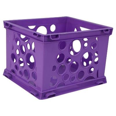 Storex Mini Stackable Storage Crate 3ct - Neon Purple