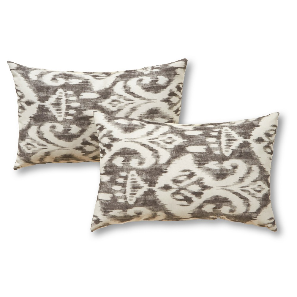 Image of 2pk Outdoor Throw Pillow Set - Gray/Ivory - Greendale Home Fashions, Grey
