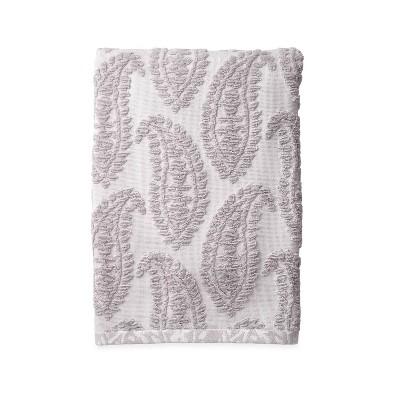 Textured Paisley Bath Towel Gray - Destinations