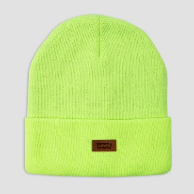 Levi's® Men's Leather Patch Beanie - Neon Yellow One Size