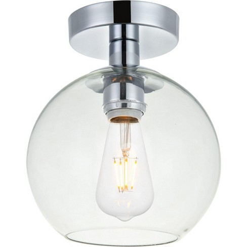 """Elegant Lighting LD2204 Baxter Single Light 8"""" Wide Semi-Flush Globe Ceiling Fixture with Clear Glass - image 1 of 4"""