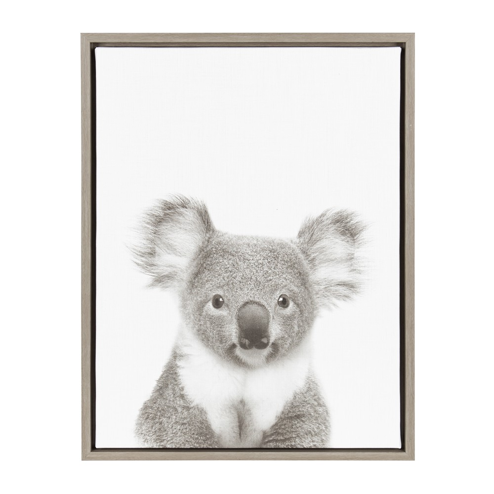 "Image of ""Kate & Laurel 24""""x18"""" Sylvie Koala And Portrait By Simon Te Tai Framed Wall Canvas Gray"""