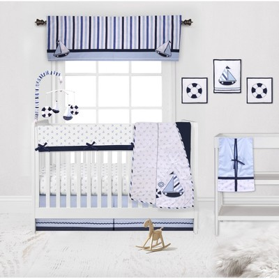 Bacati - Little Sailor Anchor Boat Blue Navy 10 pc Crib Bedding Set with Long Rail Guard Cover