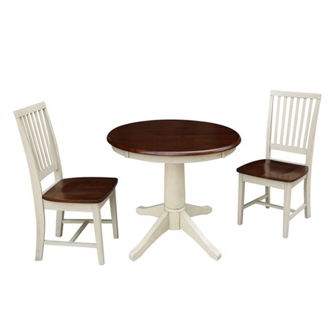 Round Top Pedestal Table with 2 Mission Chairs Brown - International Concepts - image 1 of 4