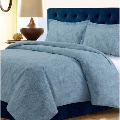 King 3pc Madrid Paisley Printed Oversized Duvet Cover Set Blue - Tribeca Living