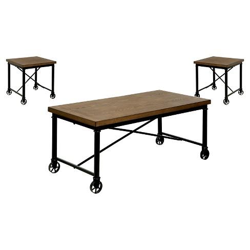 Levi Occasional Table Set Medium Oak - Sun & Pine - image 1 of 4