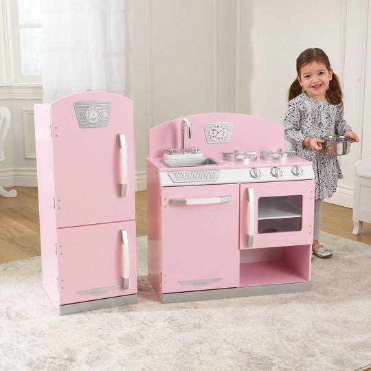 Kidkraft Pink Retro Kitchen and Refrigerator Play Set image number null
