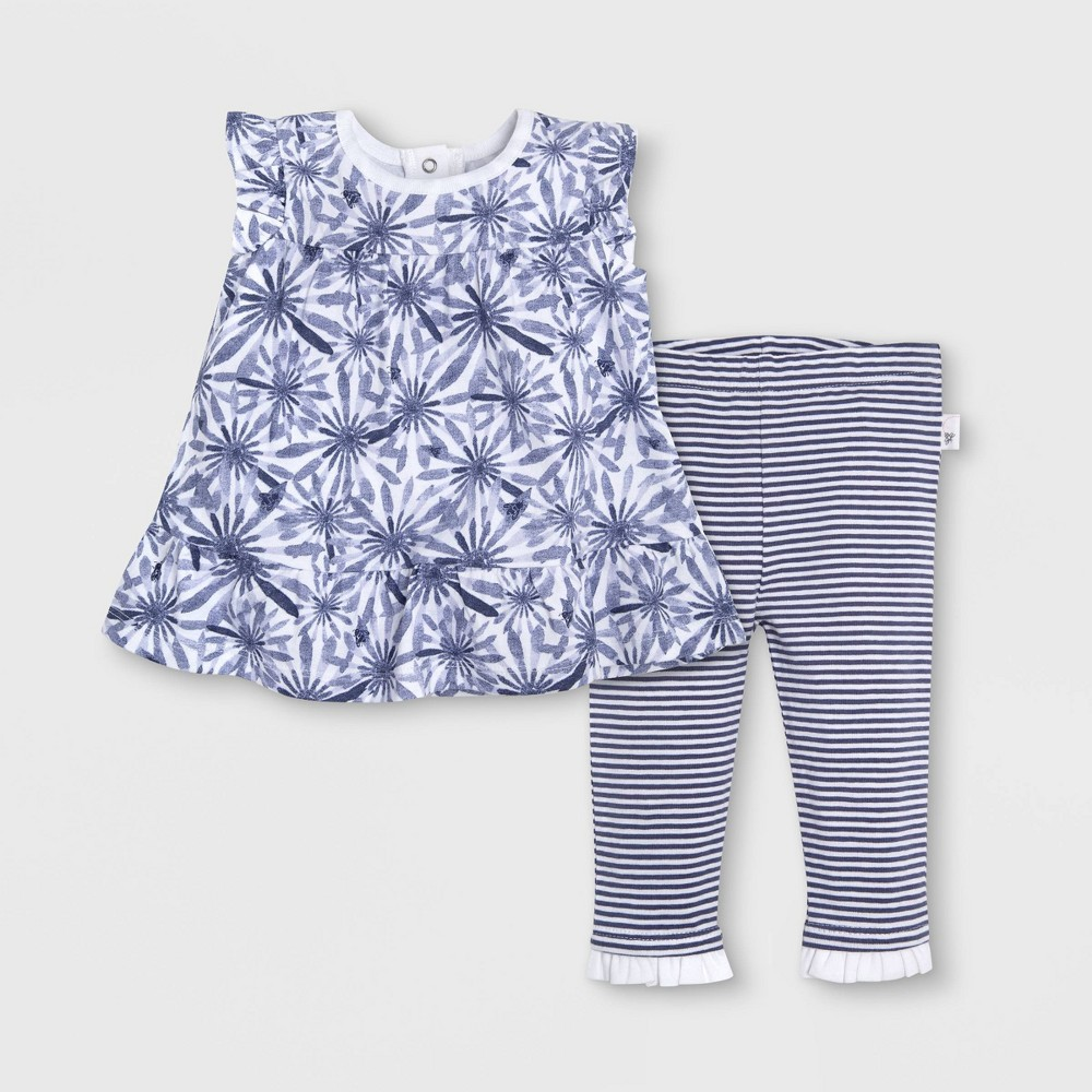 Burt's Bees Baby Girls' Daisy Peplum Organic Cotton Dress & Leggings Set - Indigo 18M, Blue