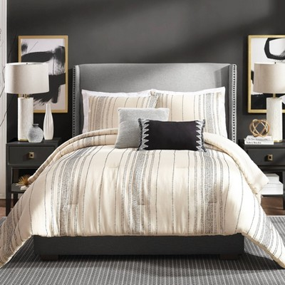 Ayesha Curry Full/Queen 3pc Slate Stripe Comforter Set Ivory