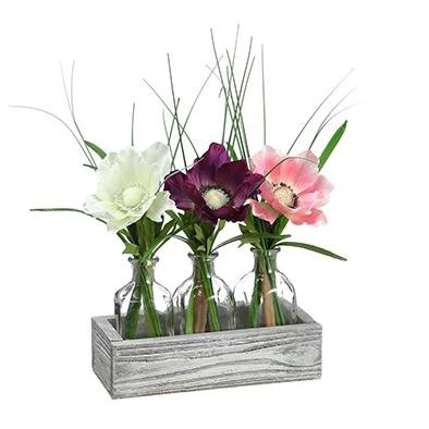 225 & Allstate Floral Set of 3 Anemone Artificial Flowers in Clear Glass Vase 12\