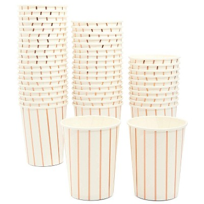 Blue Panda 50 Pack 9oz Rose Gold Foil Stripes Disposable Paper Cups, Birthday Wedding Party Supplies