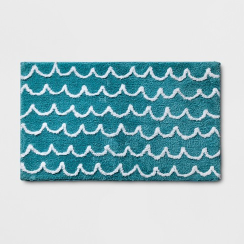Scallop Wave Bath Rug Blue - Pillowfort™ - image 1 of 3