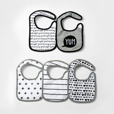 Baby 5pk Bibs Cloud Island™ - Black/White