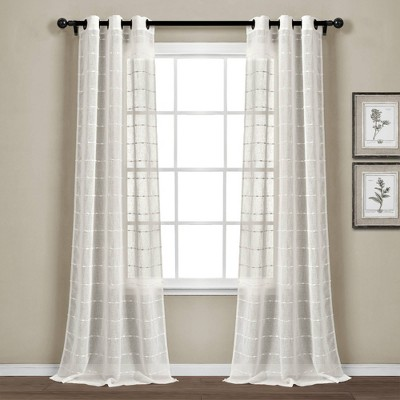"Set of 2 (84""x38"") Farmhouse Texture Grommet Sheer Window Curtain Panels - Lush Décor"