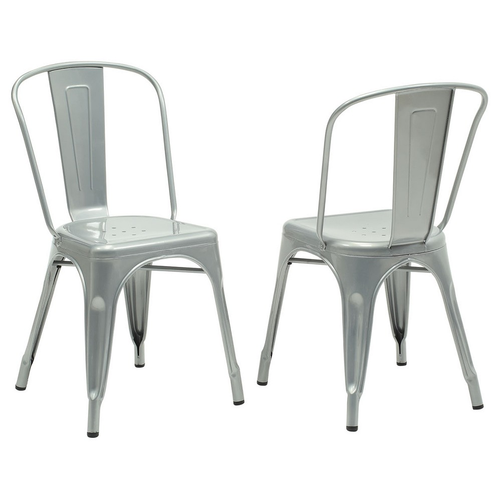 Dining Chair - 2 Piece - Silver Galvanized Metal - EveryRoom