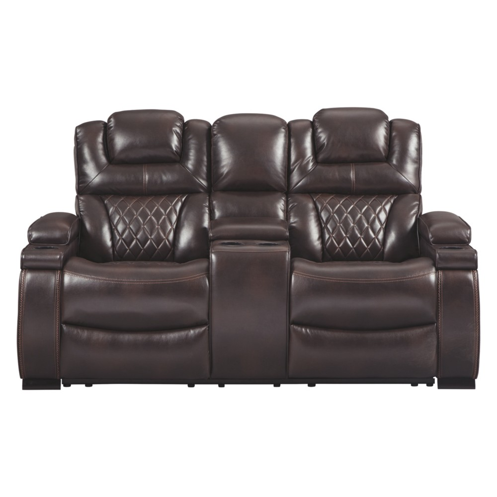 Warnerton Power Reclining Loveseat/Console/Adjustable Headrest Chocolate Brown - Signature Design by Ashley