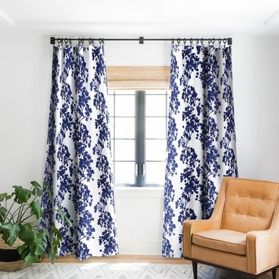Emanuela Carratoni Blue Delicate Flowers Single Panel Blackout Window Curtain - Deny Designs