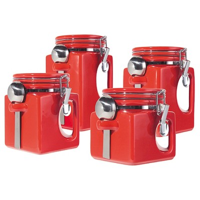 Oggi® Ceramic 4pc EZ Grip Airtight Canister Set Red