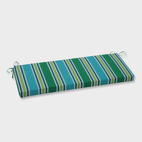 Aruba Stripe Outdoor Bench Cushion Blue - Pillow Perfect - image 1 of 1