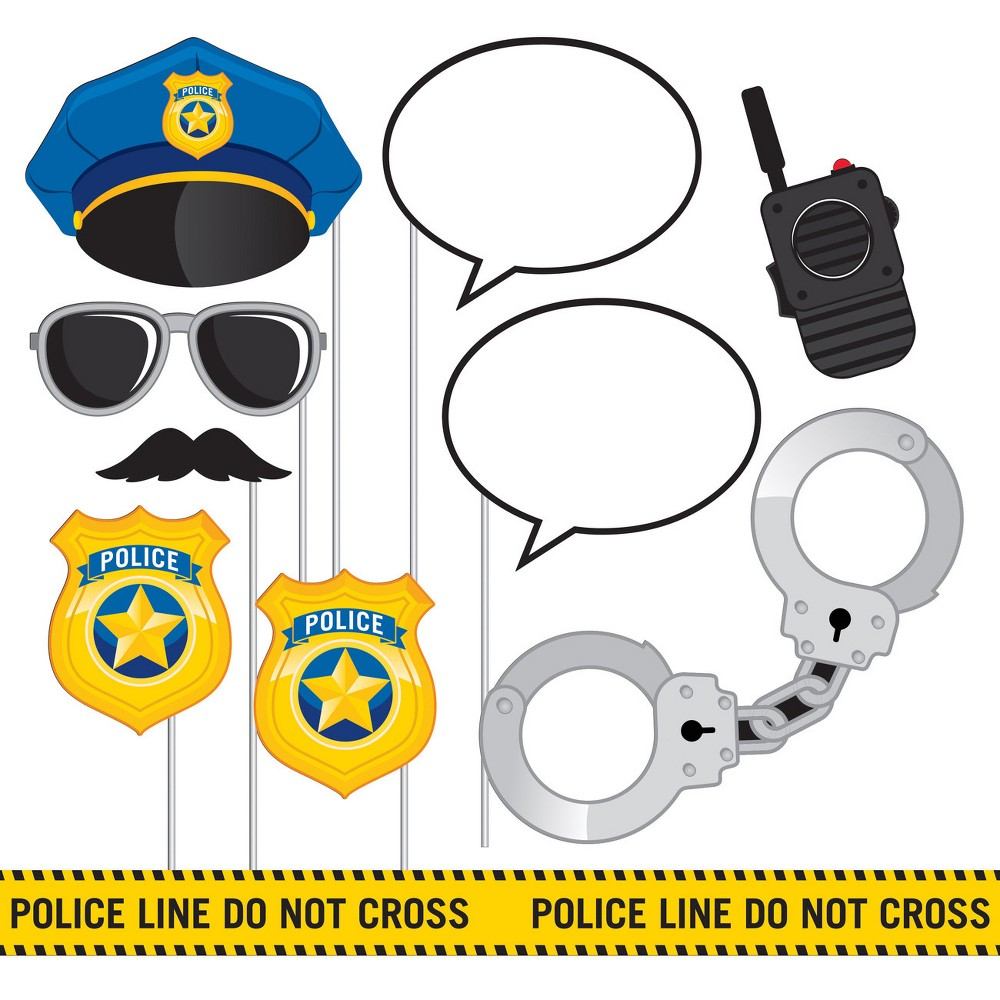 10ct Creative Converting Police Party Photo Booth Props