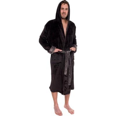 Ross Michaels Men's Plush Two-Tone Hooded Bathrobe With Sherpa Trim