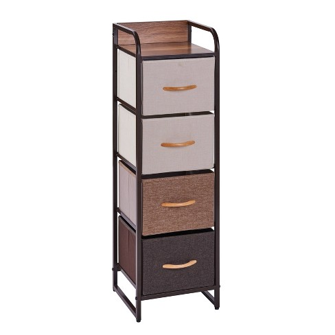 Decorative Modern Storage Chest Tower With 4 Fabric Drawers Brown Danya B