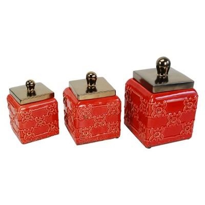 Storage Canister Set of 3 Red 48oz/64oz/98oz - Drew DeRose