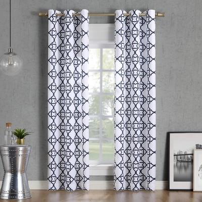 40x84  Barkley Trellis Semi-Sheer Grommet Curtain Panel Navy-No. 918