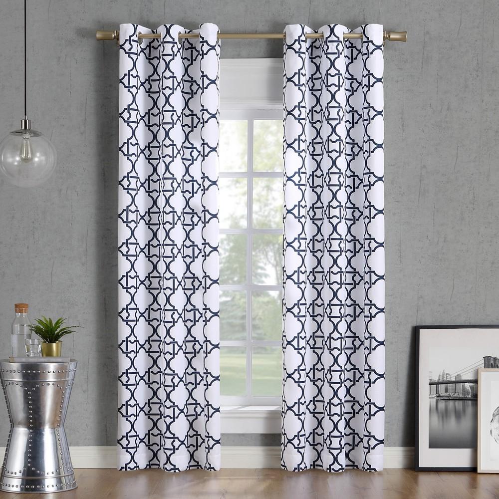 "Image of ""40x63"""" Barkley Trellis Semi-Sheer Grommet Curtain Panel Navy-No. 918, Blue"""