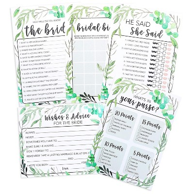 Juvale 5-Set Bridal Shower Game Cards Greenery Boho Wedding Party Activity Supplies Including Bingo He Said She Said Marriage Advice Up to 50 Guests