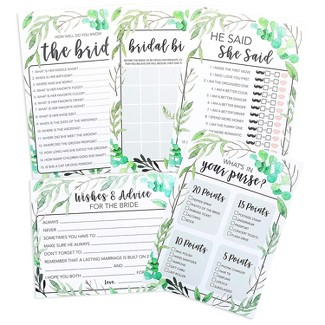 Juvale 5-Set Bridal Shower Game Cards Greenery Boho Wedding Party Activity Supplies Including Bingo He Said She Said Marriage Advice Up To 50 Guests : Target