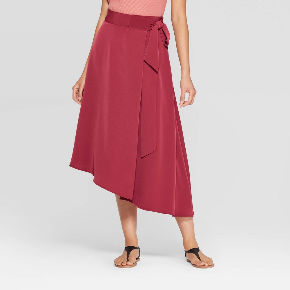 Image of Women's Mid-Rise Wrap Midi Skirt - Prologue Red XXL, Women's